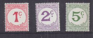 BECHUANALAND, POSTAGE DUE, 1961 Decimal Currency set of 3, mnh.