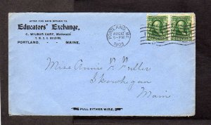 ME Educator's Exchange Portland Maine to Skowhegan 1903 Commercial Stamp Cover
