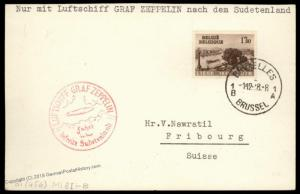 Belgium 1938 Zeppelin Germany Sudetenland LZ130 Flight Si456 Flown Cover 90719