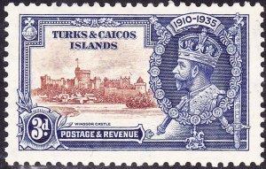 TURKS & CAICOS ISLANDS 1935 KGV 3d Brown & Deep-Blue Silver Jubilee SG188 MH