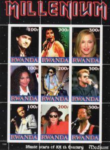 Rwanda 1999 George Michael/Michael Jackson/Janet Jackson  Shlt (9) MNH VF