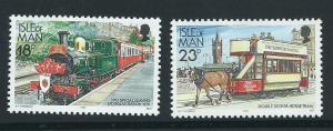 Isle of Man MUH SG 375, 377b     1988 railways,  1992 adi...
