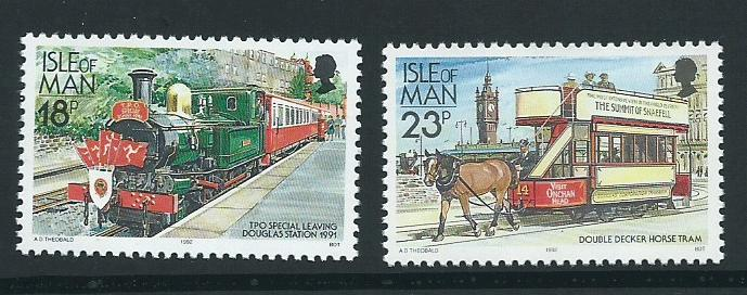 Isle of Man MUH SG 375, 377b     1988 railways,  1992 adi...
