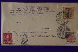 Mexico Cover postal history 394 396 Sonora US sc#406 Nogales AZ 1914 dual frank