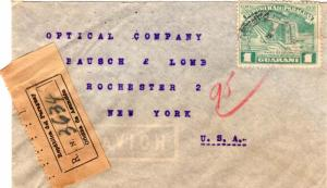 Paraguay 1G Columbus Lighthouse 1952 Aeropostal, Paraguay Airmail Registered ...