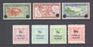 Tokelau Scott 9/15 - SG9/15, 1967 Overprint Set MH*