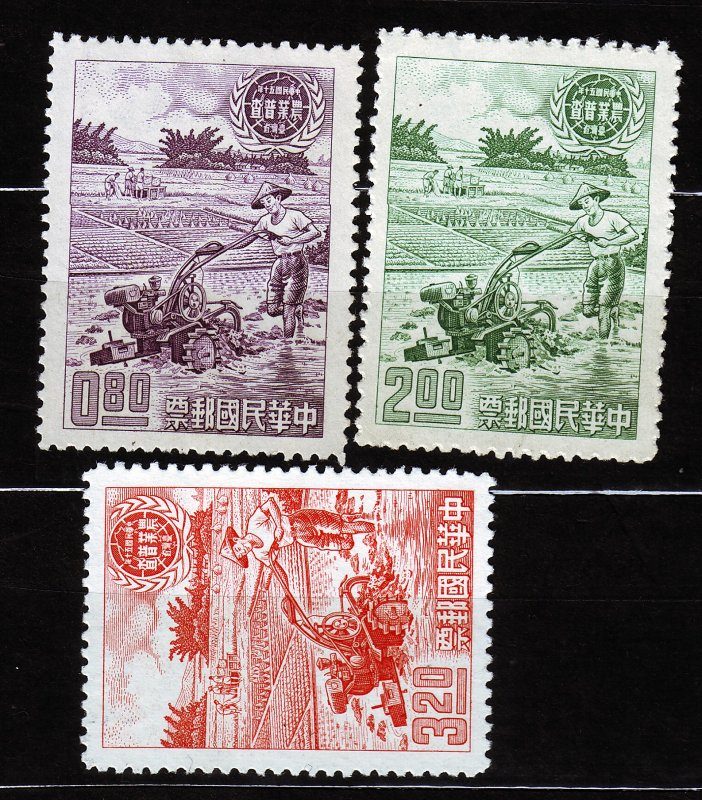 J22930 JLstamps 1961 taiwan china set issued mng mh #1308-10 farmer