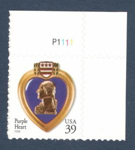 4032 Purple Heart Single W/Plate Number Mint/nh (Free Shipping)