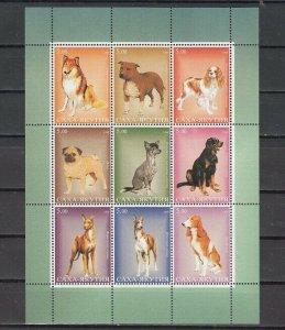 Kalmykia, 1999 Russian Local. Dogs sheet of 9.  Green Border.