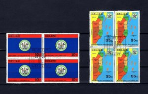 BELIZE - 1982 - INDEPENDENCE - ARMS - FLAG & MAP - 2 X CTO NH BLOCKS!