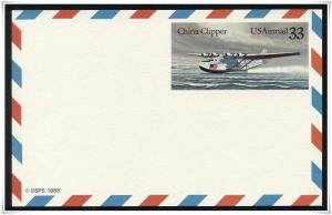 SC#UXC22 33¢ China Clipper Postal Card