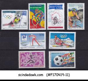 ANDORRA FRENCH - SELECTED STAMPS OF SPORTS FROM 1971-2010 8V - MINT NH