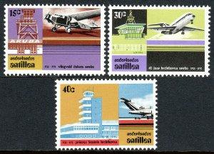 Netherlands Antilles 372-374, MNH. Aruba Airport, 40th anniv. Airplanes, 1975