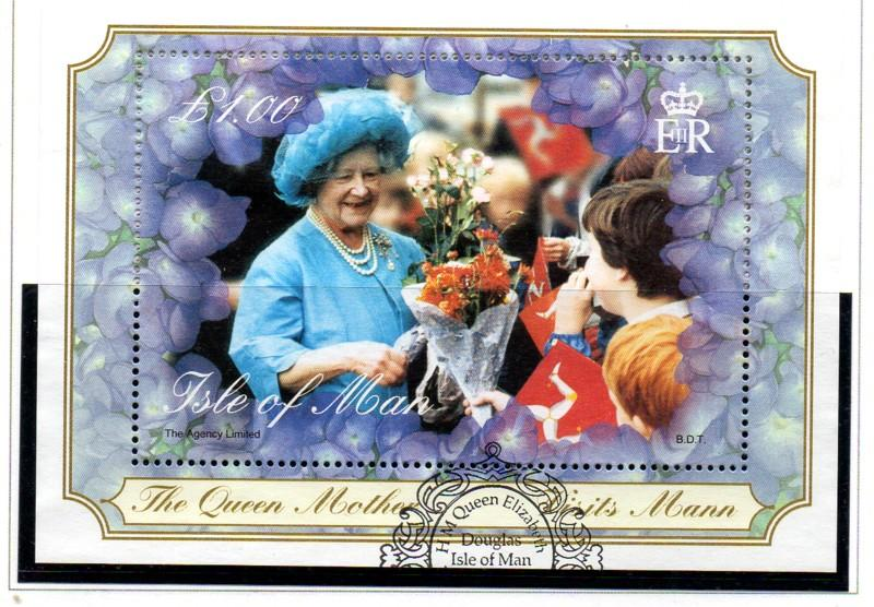 Isle of Man Sc 859 2000 Queen Mother 100 stamp sheet used