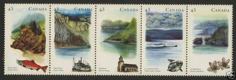 Canada 1489a MNH Canadian Rivers, Fish, Boat