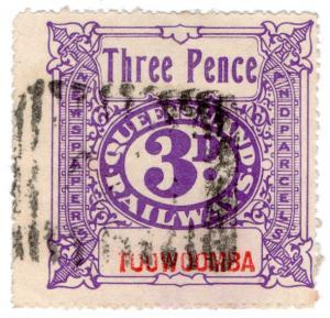 (I.B) Australia - Queensland Railways : Parcel Stamp 3d (Toowoomba)