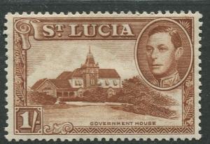 St. Lucia - Scott 121a - KGVI - Definitive -1938 - MH -Single 1/- Stamp
