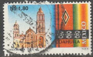 MEXICO 1786, N$1.80 Tourism Coahuila, church, sarape. USED. F-VF. (1374)