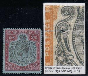 Bermuda, SG 89e, MLH (TR corner pull) Break in Lines Below Left Scroll variety