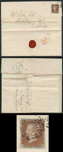1841 Penny Red (NG) Plate 19 on Cover DUBLIN Maltese Cross