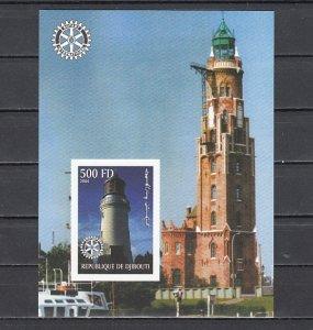 Djibouti, 2004 Cinderella. Lighthouse, IMPERF s/sheet. ^
