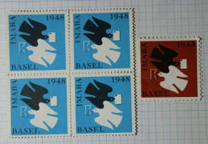 Basel IMABA Stamp Exhibition 1948 Switzerland Philatelic Souvenir Ad Label MNH