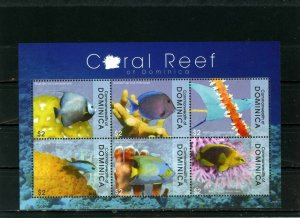 DOMINICA 2009 FISH & MARINE LIFE SHEET OF 6 STAMPS MNH