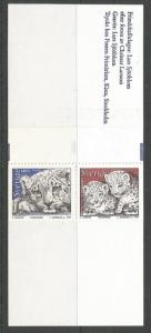 SWEDEN 2222a, MNH STAMP, COMPLETE BOOKLET, 1 EACH OF 2221 AND 2222, SNOW LEOP...
