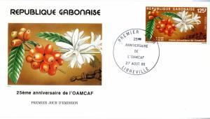 GABON  FDC #598 BIN $3.50 FLOWERS
