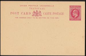 Transvaal Post Card Edward VII Red