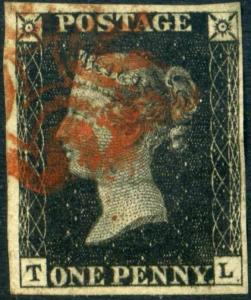 GB QV Queen Victoria Penny red plate numbers 1d  (61 stamps