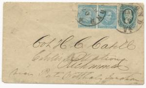 CSA Scott #11 on Cover Richmond, VA Overpaid Drop Letter #7 Paid FWD Military