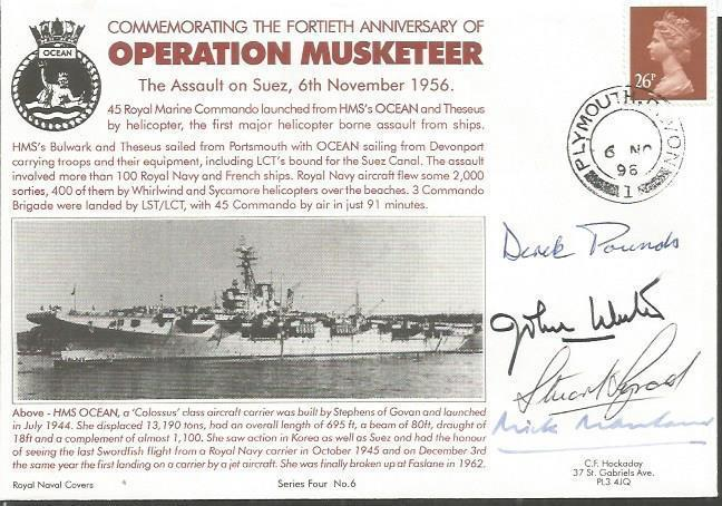 Multiple signed 1996 Suez Assault Operation Musketeer official Navy cover MX343