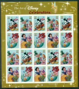 US #3912-15 Disney Characters, Sheet of 20 SNOW WHITE, LITTLE MERMAID, ALICE