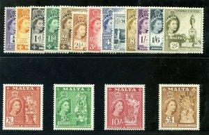 Malta 1956 QEII set complete MLH. SG 266-282. Sc 246-262.