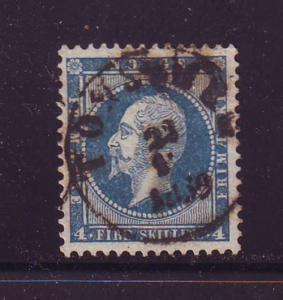 Norway Sc 4 1856 4 s blue Oscar I stamp used