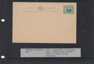 WESTERN AUSTRALIA POSTAL STATIONARY CARD UNUSED 1 1/2D SURCHARGE 1893
