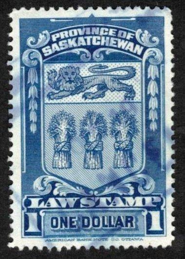 SASKATCHEWAN REVENUE 1938 $1 BLUE # SL51 VF USED SCARCE VINTAGE LAW STAMP