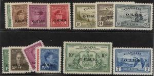 Canada - 14 Different O.H.M.S. Ovpt. Stamps mint