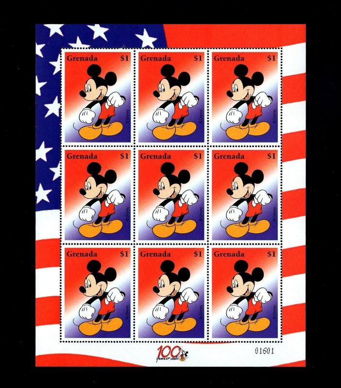 GRENADA - 2002 - DISNEY - MICKEY MOUSE - 100 YEARS OF MAGIC - MINT - MNH SHEET!