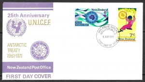 NEW ZEALAND 1971 ANTARCTICA and UNICEF Issues Sc 476-477 FDC