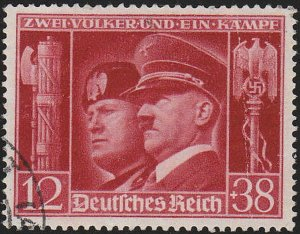 Stamp Germany Mi 763 Sc B189 1941 WWII Adolf Mussolini Italy Berlin Rome Used