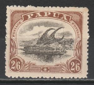 PAPUA 1910 LAKATOI 2/6 LARGE PAPUA WMK UPRIGHT TYPE C PERF 12.5