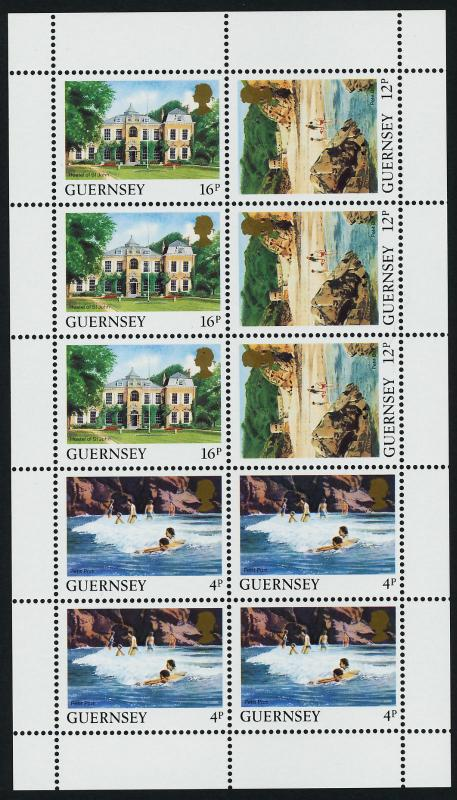 Guernsey 373b Sheet MNH Architecture, Beach, Hostel of St John