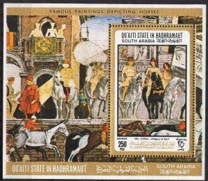 {AH007} ADEN / Hadhramaut 1967 Art Paintings Horses S/S MNH** Mi.:Bl.19 12 Eur.
