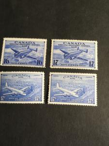 Canada #CE1-4 Mint F-VF-NH 2016 Scott Cat $21.25 Air Post Special Delivery Comp.