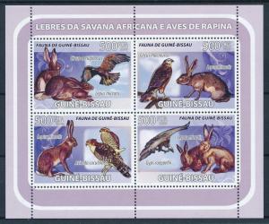 [96477] Guinea Bissau 2008 Wild Life Hare Birds of Prey Sheet MNH