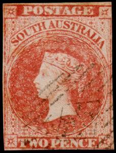 South Australia Scott 7 (1857) Used F-VF, CV $55.00 M