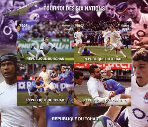 RUGBY 6 Nations France/Concorde Shlt (4) Imperf.Chad 2012