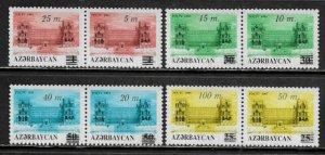 Azerbaijan #407-14 MNH Set in Pairs - Overprints